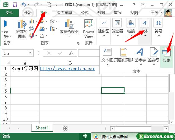 excel2013中插入对象文件