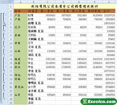 excel分类汇总数据