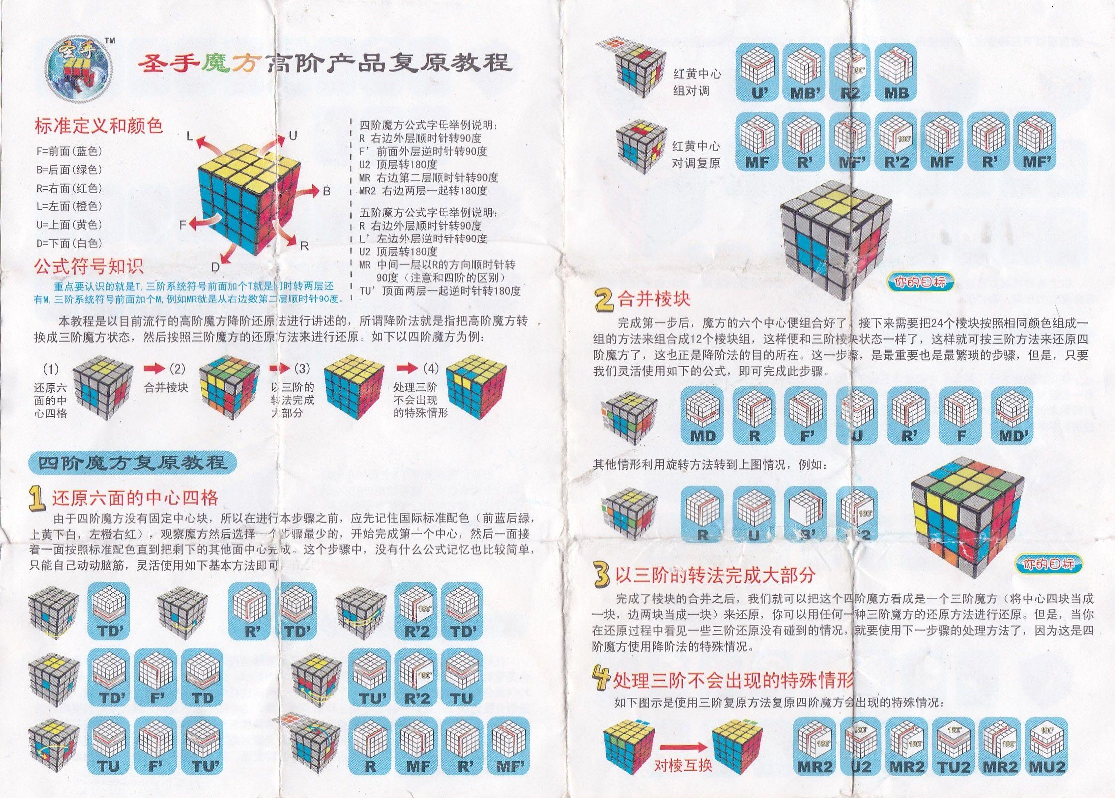 四阶魔方公式 图解 图纸展示