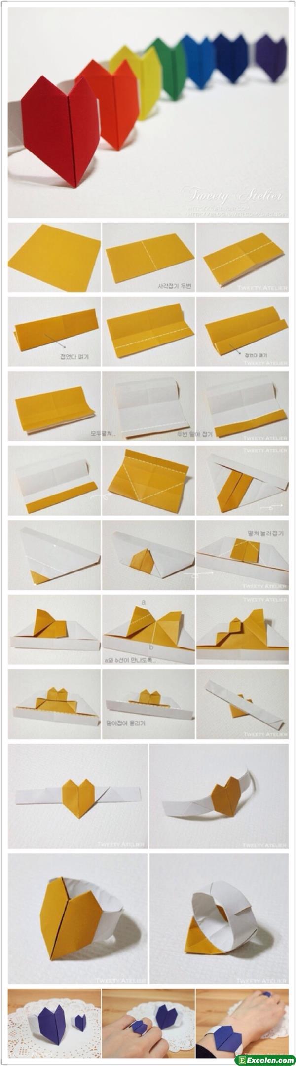 心形戒指折纸图解
