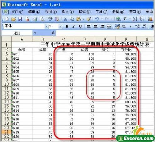 在excel中利用数据分析来对成绩排位与百分比2