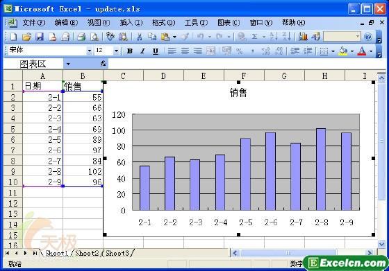 在excel中如何让图表显示实时数据