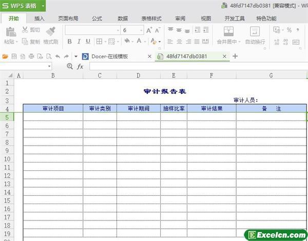 excel公司审计表报告单模板