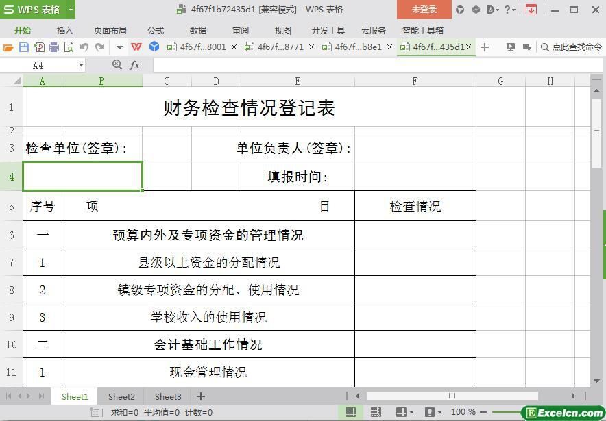 excel财务检查情况登记表模板