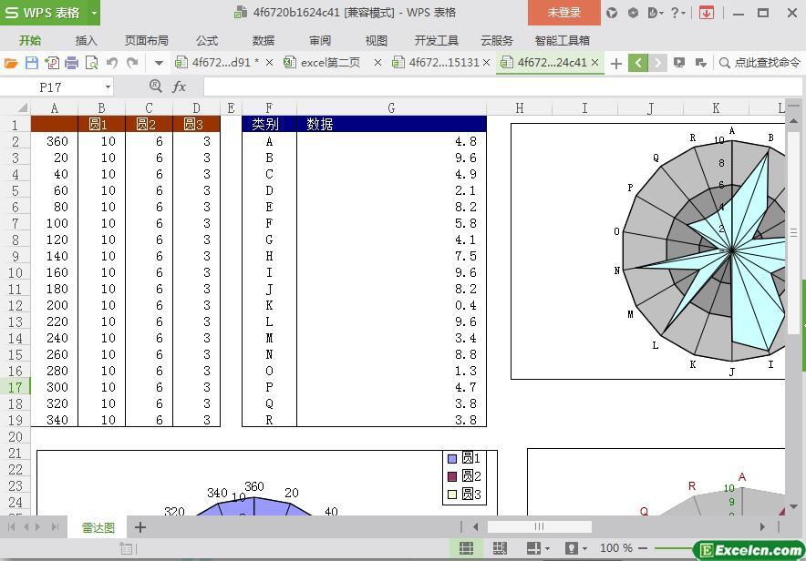 excel立体雷达图模板