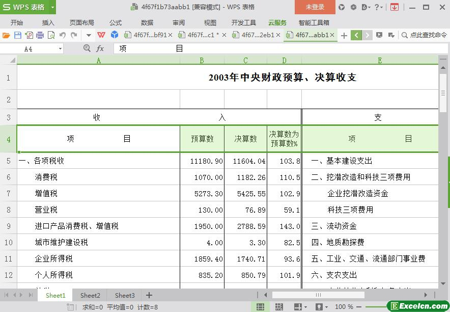 excel2003年中央财政预算、决算收支模板