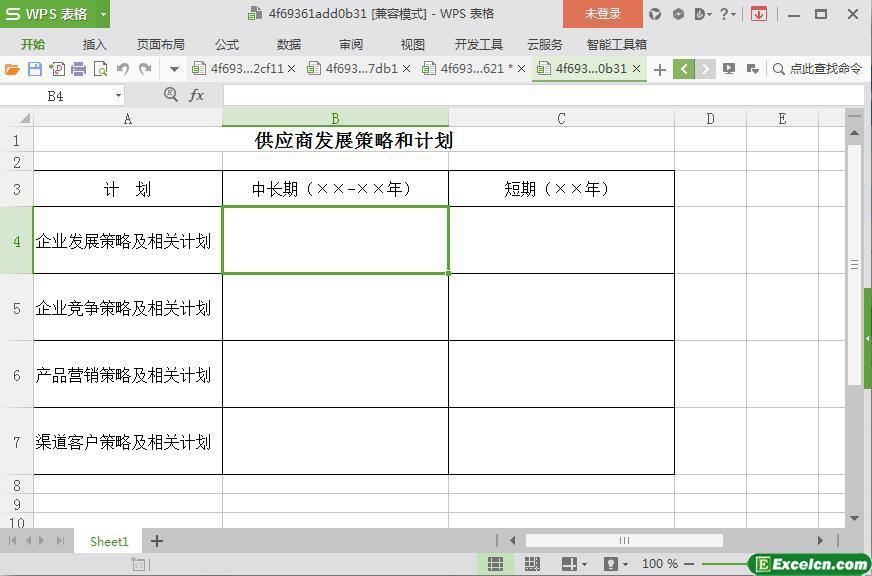 excel供应商发展策略和计划模板