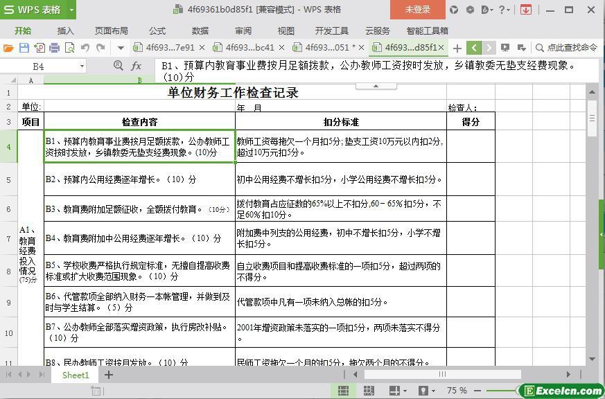 excel单位财务工作检查记录模板