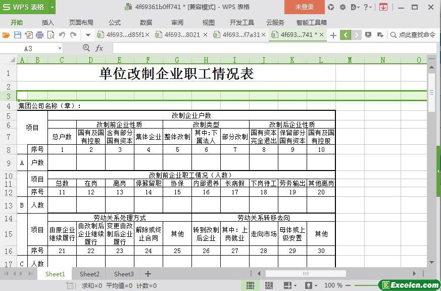 excel单位改制企业职工情况表模板