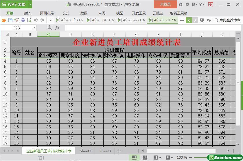 excel企业新进员工培训成绩统计表模板