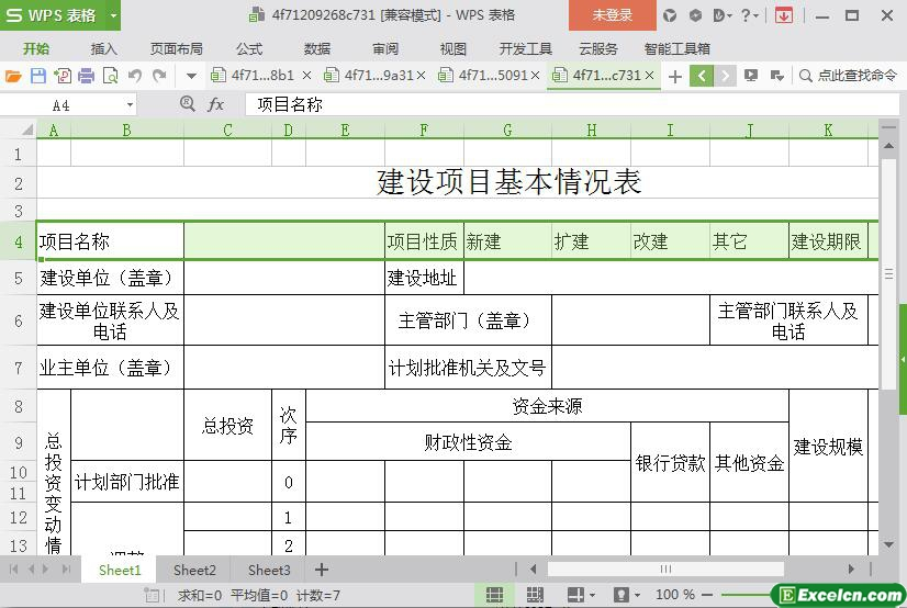 excel项目建设基本概况表模板