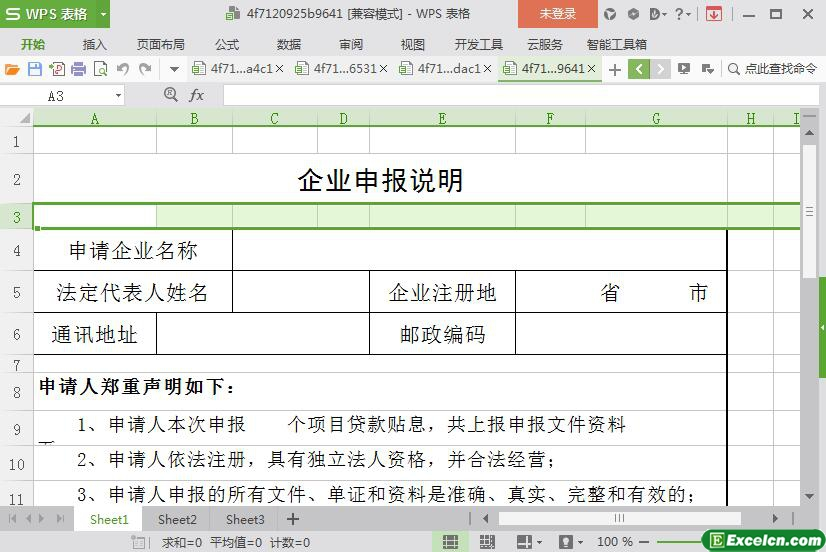 excel企业申报项目材料说明模板