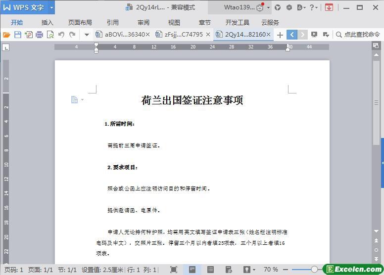 word出国签证注意事项编写模板