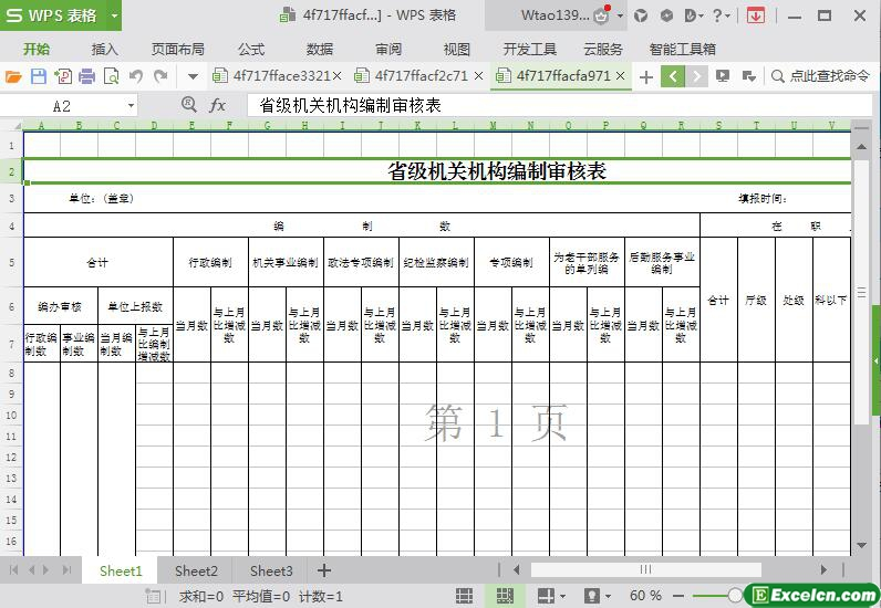 excel政府机关编制人员审核表模板