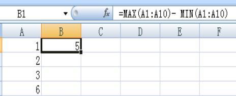EXCEL里极差函数的缩写是什么