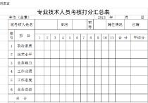 2012年度工程类中初级打分汇总表excel模板